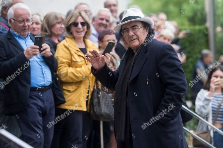 Italian singer Albano Carrisi (R) arrives to the funeral of late Spanish soprano Monserrat Caballe in Barcelona, Spain, 08 October 2018. Monserrat Caballe died early 06 October 2018.