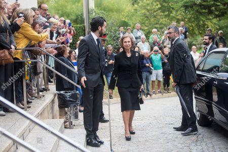 Spanish Queen Emeritus Sofia (C) arrives to the funeral of late Spanish soprano Monserrat Caballe in Barcelona, Spain, 08 October 2018. Monserrat Caballe died early 06 October 2018.
