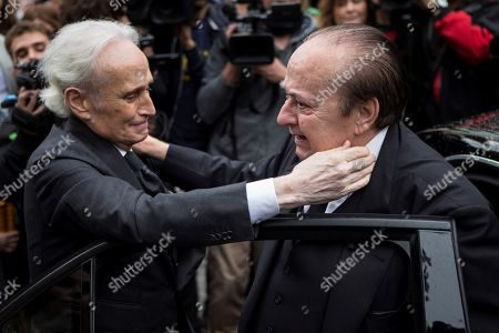 Spanish tenor Josep Carreras (L) greets Carlos Caballe (R), brother of late Spanish soprano Monserrat Caballe, during his sister's funeral in Barcelona, Spain, 08 October 2018. Monserrat Caballe died early 06 October 2018.
