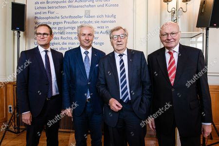 Stock Photo of Former Berlin Governing Mayor Klaus Wowereit (2-L) poses with Berlin Governing Mayor Michael Mueller (L) and former Berlin Governing Mayors Eberhard Diepgen (2-R) and Walter Momper (R), during a lunch on the occasion of his 65th birthday at the Berlin town hall 'Rotes Rathaus' in Berlin, Germany, 08 October 2018. Wowereit turned 65 on 01 October 2018. Berlin Governing Mayor Michael Mueller arranged a lunch on this occasion.