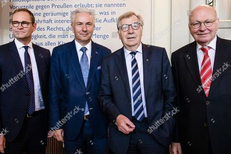 Former Berlin Governing Mayor Klaus Wowereit (2-L) poses with Berlin Governing Mayor Michael Mueller (L) and former Berlin Governing Mayors Eberhard Diepgen (2-R) and Walter Momper (R), during a lunch on the occasion of his 65th birthday at the Berlin town hall 'Rotes Rathaus' in Berlin, Germany, 08 October 2018. Wowereit turned 65 on 01 October 2018. Berlin Governing Mayor Michael Mueller arranged a lunch on this occasion.