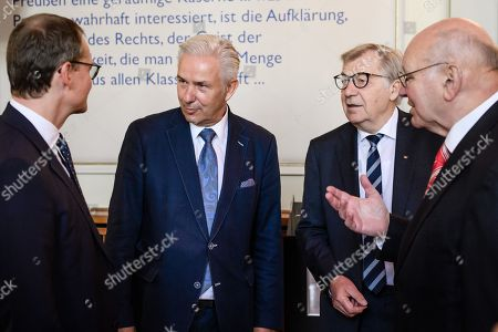 Former Berlin Governing Mayor Klaus Wowereit (2-L) talk to Berlin Governing Mayor Michael Mueller (L) and former Berlin Governing Mayors Eberhard Diepgen (3-L) and Walter Momper (R), during a lunch on the occasion of his 65th birthday at the Berlin town hall 'Rotes Rathaus' in Berlin, Germany, 08 October 2018. Wowereit turned 65 on 01 October 2018. Berlin Governing Mayor Michael Mueller arranged a lunch on this occasion.