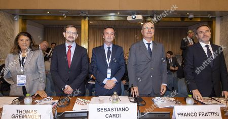 (L-R) CiO Special Representative on Combating Corruption, Paola Severino; OSCE Secretary General, Thomas Greminger; Italian Political Director, Sebastiano Cardi; CiO Special Representative for the Transdniestrian Settlement Process, Franco Frattini and Permanent Representative of Italy to the OSCE, Alessandro Azzoni, during the meeting of the 'Political Directors of The Organization for Security and Co-operation in Europe (OSCE) Participating States' at the Farnesina in Rome, Italy, 08 October 2018.