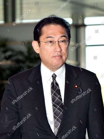 Stock Image of Fumio Kishida, 61, the ruling Liberal Democratic Party Policy Research Council chairman, arrives at the Prime Minister's office, as Prime Minister Shinzo Abe reshuffles his Cabinet for the start of his third three-year term.