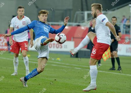 Nicolo Barella of Italy end Jakub Blaszczykowski of Poland