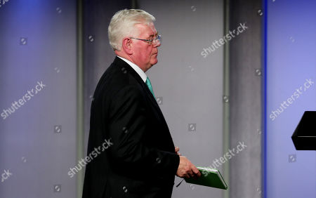 The President of Colombia Ivan Duque (out of frame), and the Delegate of the European Union for Peace Affairs Eamon Gilmore participate in a press conference in Bogota, Colombia, 08 October 2018. The special envoy of the European Union (EU) for the Peace Process in Colombia Eamon Gilmore begins tomorrow his first visit to the country during the Government of President Ivan Duque, with whom he will meet to reaffirm his commitment to the agreement.