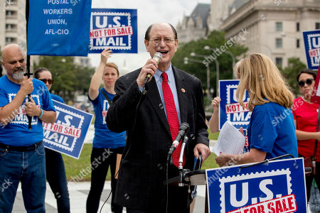 Rep. Brad Sherman, D-Calif., speaks at a rally to oppose a plan by the White House's Office of Management and Budget to sell off the U.S. Postal Service to corporate interests, at Freedom Plaza, in Washington