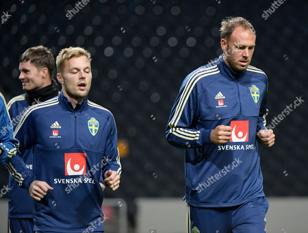 Sweden's Sebastian Larsson and Andreas Granqvist during a training session at Friends Arena in Solna, Sweden, 08 October 2018. Sweden face Russia in a UEFA Nations League soccer match on 11 OCtober.