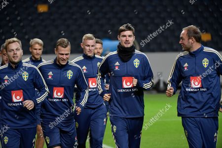 Sweden's Sebastian Larsson, Viktor Claesson, Emil Krafth, Mikael Lustig and Andreas Granqvist during a training session at Friends Arena in Solna, Sweden, 08 October 2018. Sweden face Russia in a UEFA Nations League soccer match on 11 OCtober.