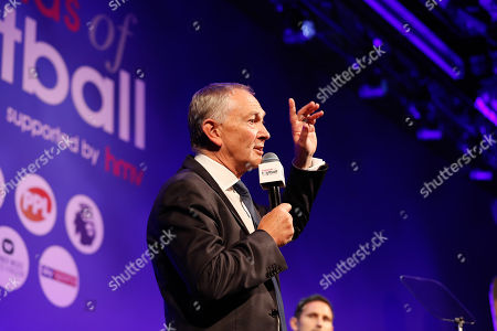 Richard Scudamore onstage at the 2018 Legends of Football Award, Great Room, Grosvenor House, London