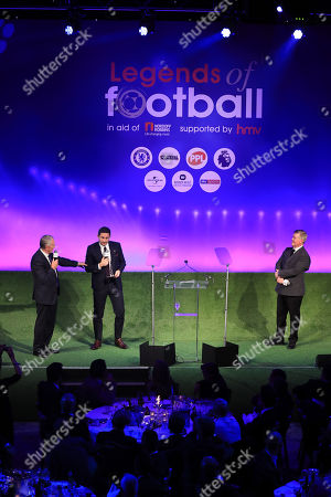 Richard Scudamore, Frank Lampard and Geoff Shreeves onstage at the 2018 Legends of Football Award, Great Room, Grosvenor House, London