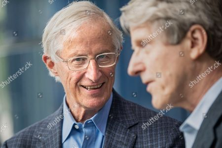 Professor William D. Nordhaus, left, and Robert Shiller, both Sterling Professors of Economics at Yale University, pose for a photograph after a news conference at Yale University in New Haven, Connecticut, USA, 08 October 2018.  Nordhaus, of Yale University, has been awarded the Nobel Prize in Economic Sciences 'for integrating climate change into long-run macroeconomic analysis' along with Paul M. Romer of the NYU Stern School of Business.