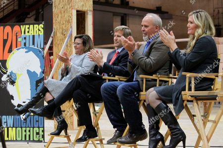 New Mexico Gov. Susana Martinez, from left, Albuquerque Mayor Tim Keller, Netflix vice president for physical production Ty Warren and Albuquerque film liaison Alicia Keyes headline a news conference at ABQ Studios in Albuquerque, N.M., on . Netflix has chosen Albuquerque as its new production hub and is in the process of buying the existing studio complex that includes several sound stages, offices and a back lot
