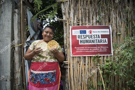 Oaxacan Evangelina Sumuano poses for a phoot at her home during the visit of representatives of the European Union (EU) and the organization Save the Children, to the town of San Perdo Huilotepec, in the state of Oaxaca, Mexico, 08 October 2018. A delegation from the European Union (EU) along with Save the Children Mexico visited the southern Mexican state of Oaxaca, where the community block is promoting a project to reactivate the economy of the area and help families affected by the two strong earthquakes of September 2017.