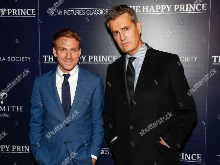 """Edwin Thomas, Rupert Everett. Edwin Thomas, left, and Rupert Everett, right, attend a special screening of """"The Happy Prince"""", hosted by Sony Pictures Classics and The Cinema Society, at iPic Cinema, in New York"""