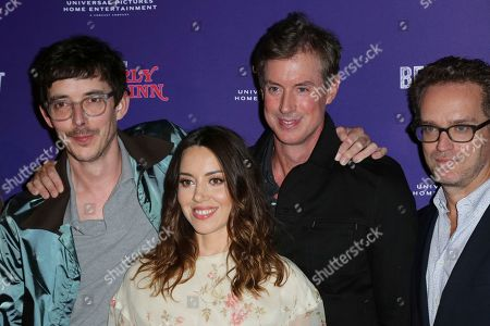 """Jim Hosking, Aubrey Plaza, David Wike, Sam Bisbee. Jim Hosking, from left, Aubrey Plaza, David Wike and Sam Bisbee attend the LA Premiere of """"An Evening with Beverly Luff Linn"""" at the Egyptian Theatre, in Los Angeles"""