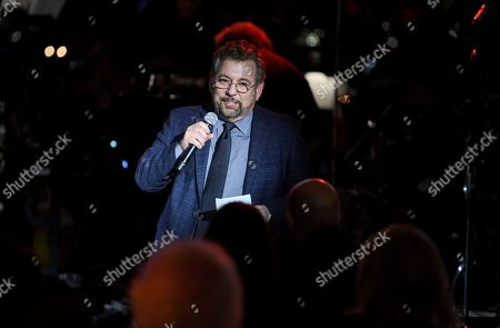 Stock Picture of Executive chairman and CEO of The Madison Square Garden Company, Jim Dolan, speaks at the Facing Addiction with NCADD (National Council on Alcoholism and Drug Dependence) gala at the Rainbow Room, in New York