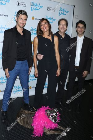 Nat Wolff, director Polly Draper, composer Michael Wolff and Alex Wolff with their dog Stella