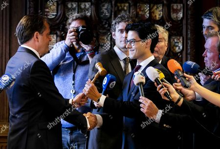 Dutch Democrats 66 (D66) party leader Alexander Pechtold (L) celebrates his successor Rob Jetten during his last day in the Senate, in The Hague, The Netherlands, 09 October 2018. Pechtold announced on 06 October, his resignation as D66 leader and from the parliament.