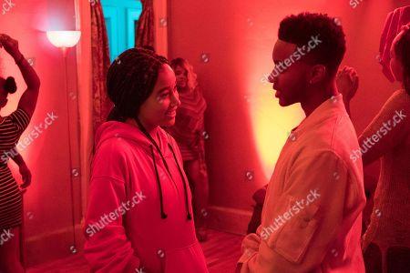 Amandla Stenberg as Starr Carter, Algee Smith as Khalil