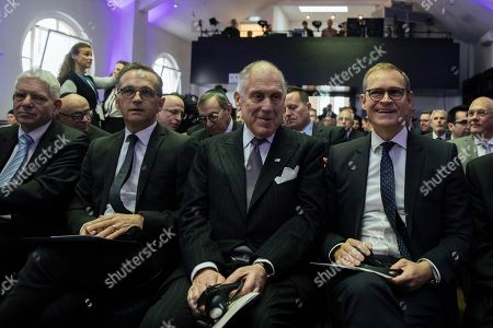 (L-R) German foreign minister Heiko Maas, President of the World Jewish Congress Ronald Lauder and Berlin Governing Mayor Michael Mueller are seen prior the rabbinical ordination ceremony of three rabbis and three cantors at the Beth Zion Synagogue in Berlin, Germany, 09 October 2018. The three Ukrainian-born rabbis are the first Orthodox rabbis to be ordained in Berlin since World War II.