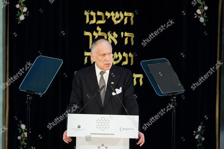President of the World Jewish Congress Ronald Lauder delivers a speech during the rabbinical ordination ceremony of three rabbis and three cantors at the Beth Zion Synagogue in Berlin, Germany, 09 October 2018. The three Ukrainian-born rabbis are the first Orthodox rabbis to be ordained in Berlin since World War II.