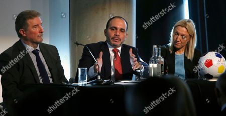 Prince Ali Bin Al?Hussein of Jordan, centre, answers a question from the Associated Press during the launch of the Association Football Development Programme Global (AFDP Global) London, . Former FIFA presidential candidate Prince Ali is taking his charity project worldwide to build on its work of bringing soccer to Syrian refugees in Jordan