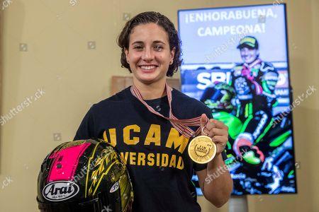Spanish motorcycling rider Ana Carrasco celebrates her Supersport 300 World title at San Esteban Palace in Murcia, where she met regional president, Fernando Lopez Miras, in Murcia, Spain, 09 October 2018.