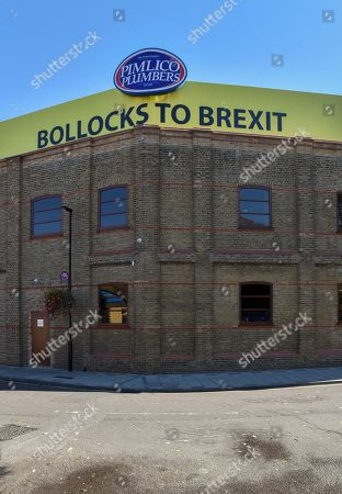 Editorial photo of Pimlico Plumbers, 'Bollocks to Brexit' banner, London, UK. - 9 Oct 2018.
