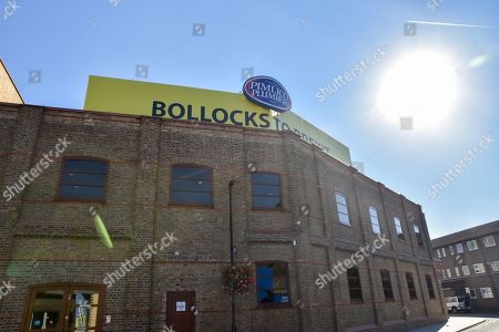 Millionaire owner of Pimlico Plumbers Charlie Mullins refuses to remove the 'Bollocks to Brexit' banner.