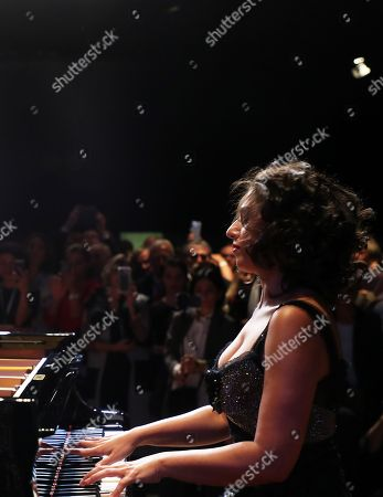 French-Georgian pianist Khatia Buniatishvili performs during the opening ceremony at the book fair 'Frankfurter Buchmesse 2018', in Frankfurt am Main, Germany, 09 October 2018. The 70th edition of the international Frankfurt Book Fair, described as the 'world's most important fair for the print and digital content business' runs from 10 to 14 October and gathers authors, writers and celebrities from all over the world. This year's Guest of Honour country is Georgia.