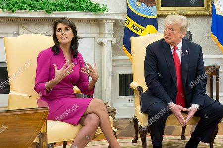 US Ambassador to the United Nations Nikki Haley (L) speaks beside US President Donald Trump (R) in the Oval Office of the White House in Washington, DC, USA, 09 October 2018. Trump and Haley announced that Haley will leave her position at the end of the year.