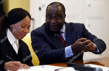 Newly elected Finance Minister, Tito Mboweni, after being sworn in in Cape Town, South Africa, . Former finance minister Nhlanhla Nene resigned after acknowledging missteps during the scandal-tainted tenure of former president Jacob Zuma