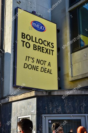 Stock Photo of Notting Hill Gate. Millionaire owner of Pimlico Plumbers Charlie Mullins starts a 'Bollocks to Brexit' poster campaign across London.