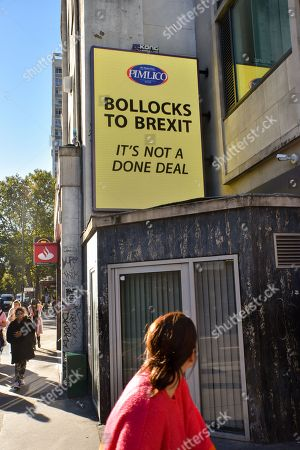 Editorial picture of Pimlico Plumbers, 'Bollocks to Brexit' posters, London, UK. - 9 Oct 2018.