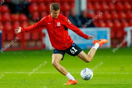 Middlesbrough U/21  defender Andrew Wilson (61)warming up  during the EFL Trophy match between Walsall and U21 Middlesbrough at the Banks's Stadium, Walsall