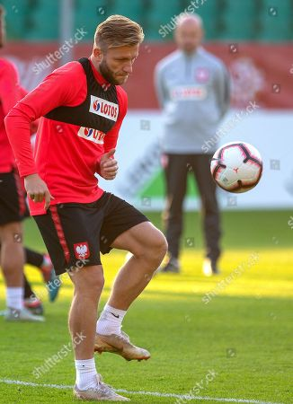 Polish national soccer team player Jakub Blaszczykowski attends a training session in Katowice, Poland, 09 October 2018. Poland will face Portugal in their UEFA Nations League soccer match on 11 October in Chorzow.