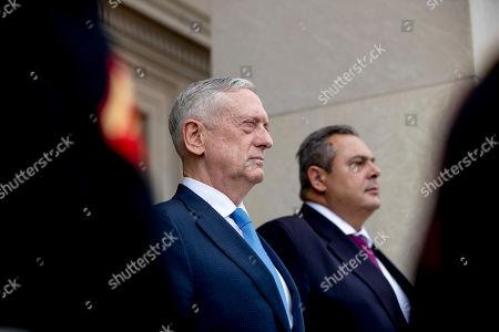 Jim Mattis, Panagiotis Kammenos. Defense Secretary Jim Mattis, left, and Greek Defense Minister Panagiotis Kammenos, right, stand as national anthems are played during an enhanced honor cordon at the Pentagon, in Washington