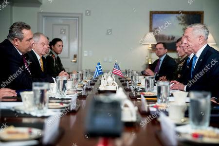 Jim Mattis, Panagiotis Kammenos. Defense Secretary Jim Mattis, right, speaks to Greek Defense Minister Panagiotis Kammenos, left, during a meeting at the Pentagon, in Washington