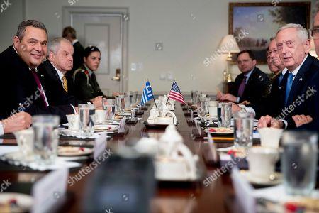 Jim Mattis, Panagiotis Kammenos. Defense Secretary Jim Mattis, right, accompanied by Greek Defense Minister Panagiotis Kammenos, left, speaks to reporters during a meeting at the Pentagon, in Washington