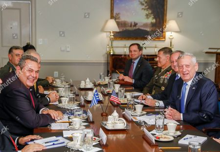 US Secretary of Defense Jim Mattis (R) meets with Greek Minister of Defense Panagiotis 'Panos' Kammenos (L) at the Pentagon in Arlington, Virginia, USA, 09 October 2018. The pair were expected to discusses continued military cooperation between Greece and the United States.