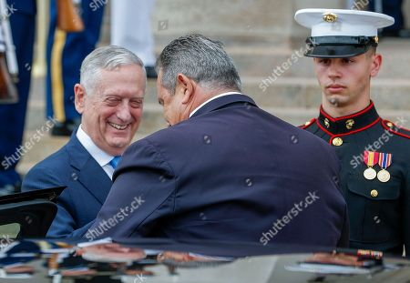 US Secretary of Defense Jim Mattis (L) greets Greek Minister of Defense Panagiotis 'Panos' Kammenos (R) at the Pentagon in Arlington, Virginia, USA, 09 October 2018. The pair were expected to discuss continued military cooperation between Greece and the United States.