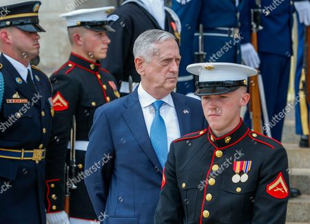US Secretary of Defense Jim Mattis waits to greet Greek Minister of Defense Panagiotis 'Panos' Kammenos at the Pentagon in Arlington, Virginia, USA, 09 October 2018. The pair were expected to discuss continued military cooperation between Greece and the United States.