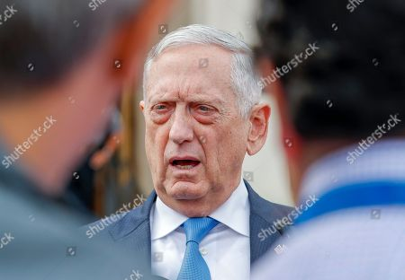 US Secretary of Defense Jim Mattis speaks to the media before meeting with Greek Minister of Defense Panagiotis 'Panos' Kammenos at the Pentagon in Arlington, Virginia, USA, 09 October 2018. The pair were expected to discuss continued military cooperation between Greece and the United States.
