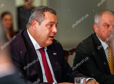 Greek Minister of Defense Panagiotis 'Panos' Kammenos speaks with US Secretary of Defense Jim Mattis (not pictured) at the Pentagon in Arlington, Virginia, USA, 09 October 2018. The pair were expected to discusses continued military cooperation between Greece and the United States.