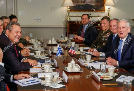 US Secretary of Defense Jim Mattis (R) meets with Greek Minister of Defense Panagiotis 'Panos' Kammenos (L) at the Pentagon in Arlington, Virginia, USA, 09 October 2018. The pair were expected to discuss continued military cooperation between Greece and the United States.