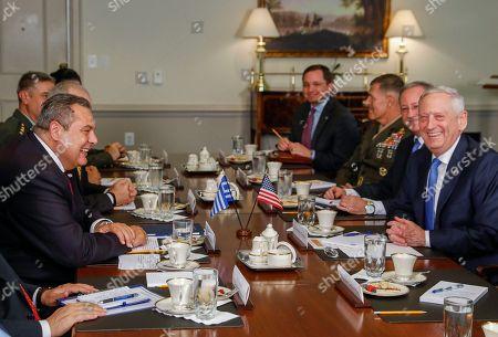 Editorial picture of US Secretary of Defense Jim Mattis meets with Greek Minister of Defense Panagiotis 'Panos' Kammenos, Arlington, USA - 09 Oct 2018