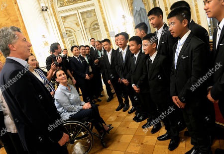 Mauricio Macri, Gabriela Michetti. In this handout picture released by the Office of the President of Argentina, members of the Thai team Wild Boars meet with Argentina President Mauricio Macri and Vice President Gabriela Michetti, at the government house in Buenos Aires, Argentina