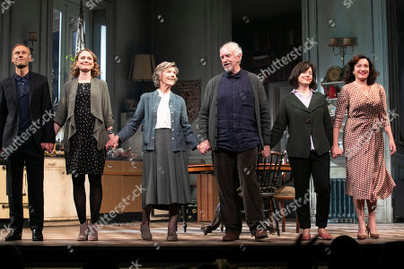 James Hillier (The Man), Anna Madeley (Elise), Eileen Atkins (Madeline), Jonathan Pryce (Andre), Amanda Drew (Anne) and Lucy Cohu (The Woman) during the curtain call