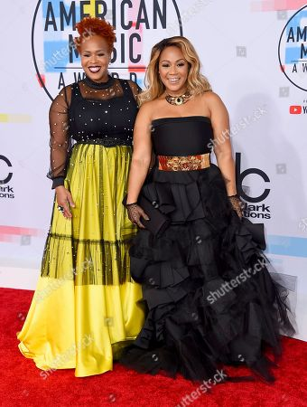 Tina Campbell, Erica Campbell. Tina Campbell, left, and Erica Campbell, of Mary Mary, arrive at the American Music Awards, at the Microsoft Theater in Los Angeles